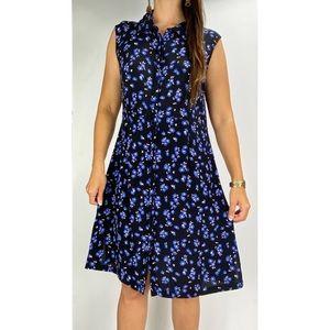 BASQUE Black Blue Floral Print Sleeveless Button Shirt Dress Plus Size AU 16